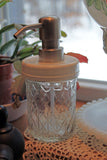 quilted jelly jar soap dispenser white plastic lid metal soap pump