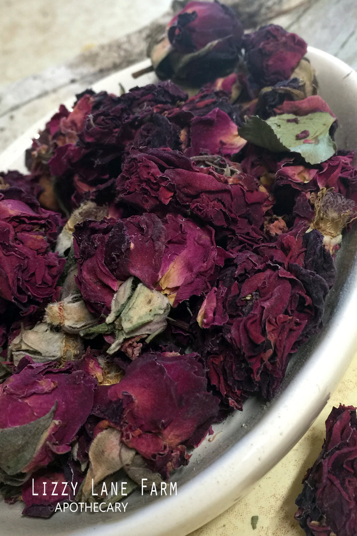 Red Rose Buds & Petals: Organic Loose Dried Rose Buds - Lizzy Lane Farm Apothecary