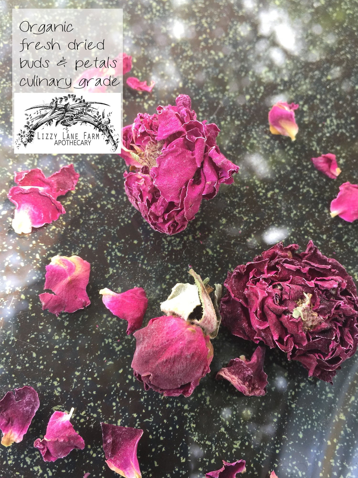 organic fresh dried rose petals and buds- asile scatter, wedding toss