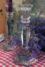 Load image into Gallery viewer, vintage tall glass candle sticks, farm house decor