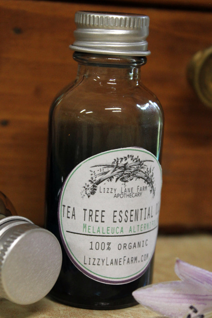 tea tree essential oil 1 oz shaded blue dropper top bottles
