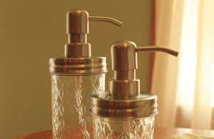 Mason Jar Soap Dispenser: Quilted Jelly Jar RUST PROOF LID - Lizzy Lane Farm Apothecary
