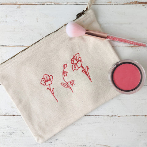Language of Flowers Make Up Bag