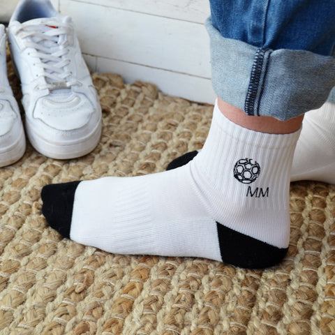 Monogram Embroidered Sports Socks