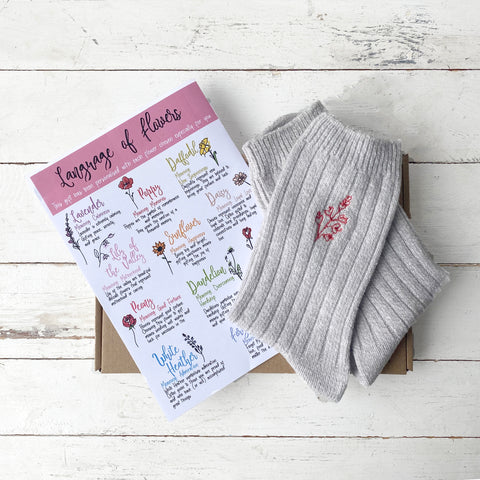 MOTHER'S DAY 'THE LANGUAGE OF FLOWERS' LETTERBOX SOCKS