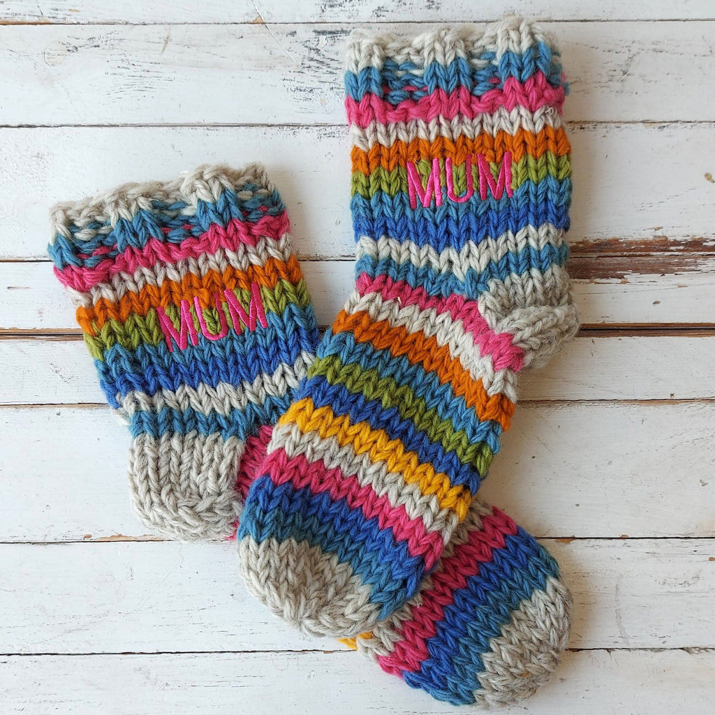 Embroidered Rainbow Socks
