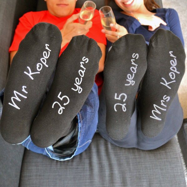 His and Hers Personalised Anniversary Socks, Socks, - ALPHS