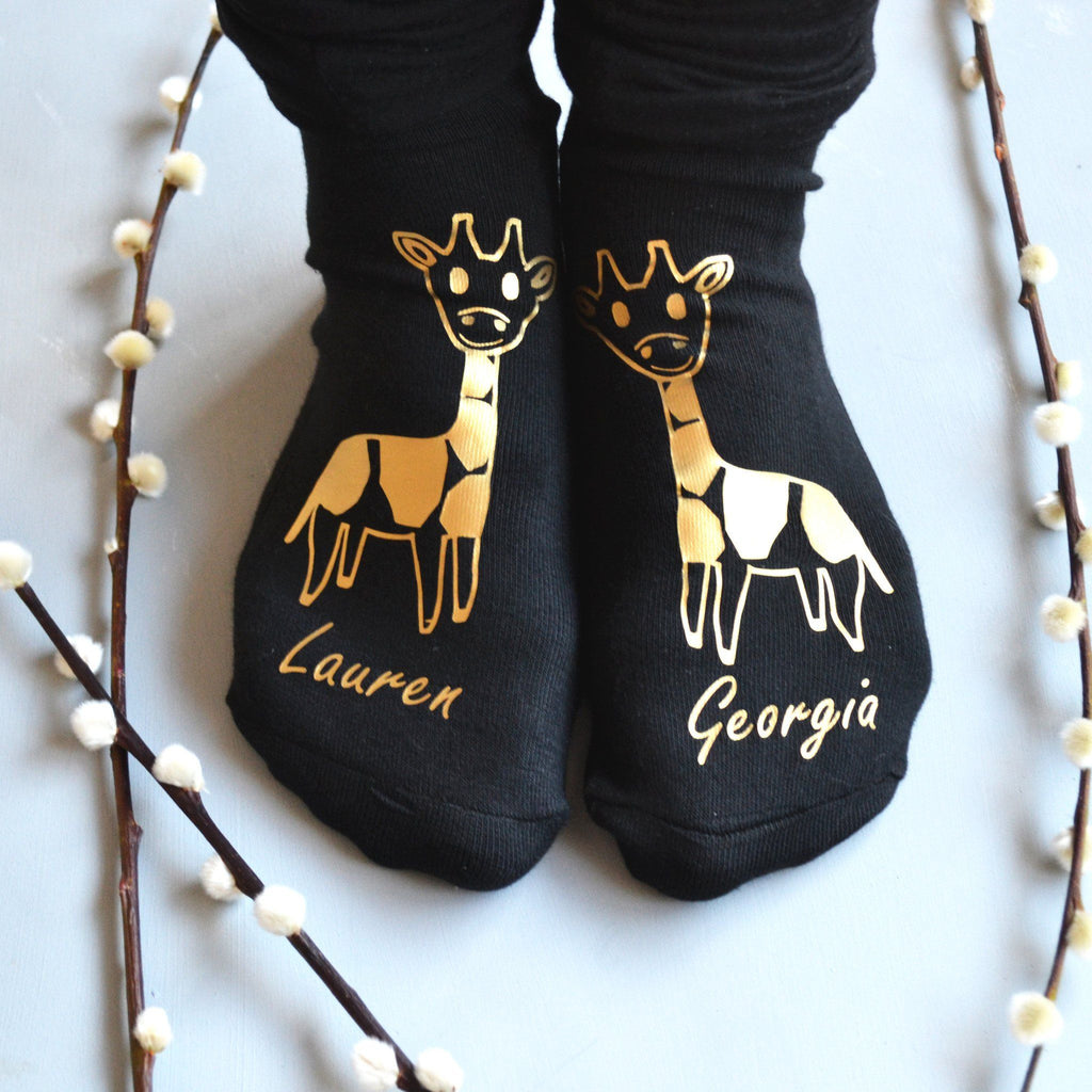 Personalised Gift Animal Socks - Giraffes, socks, - ALPHS
