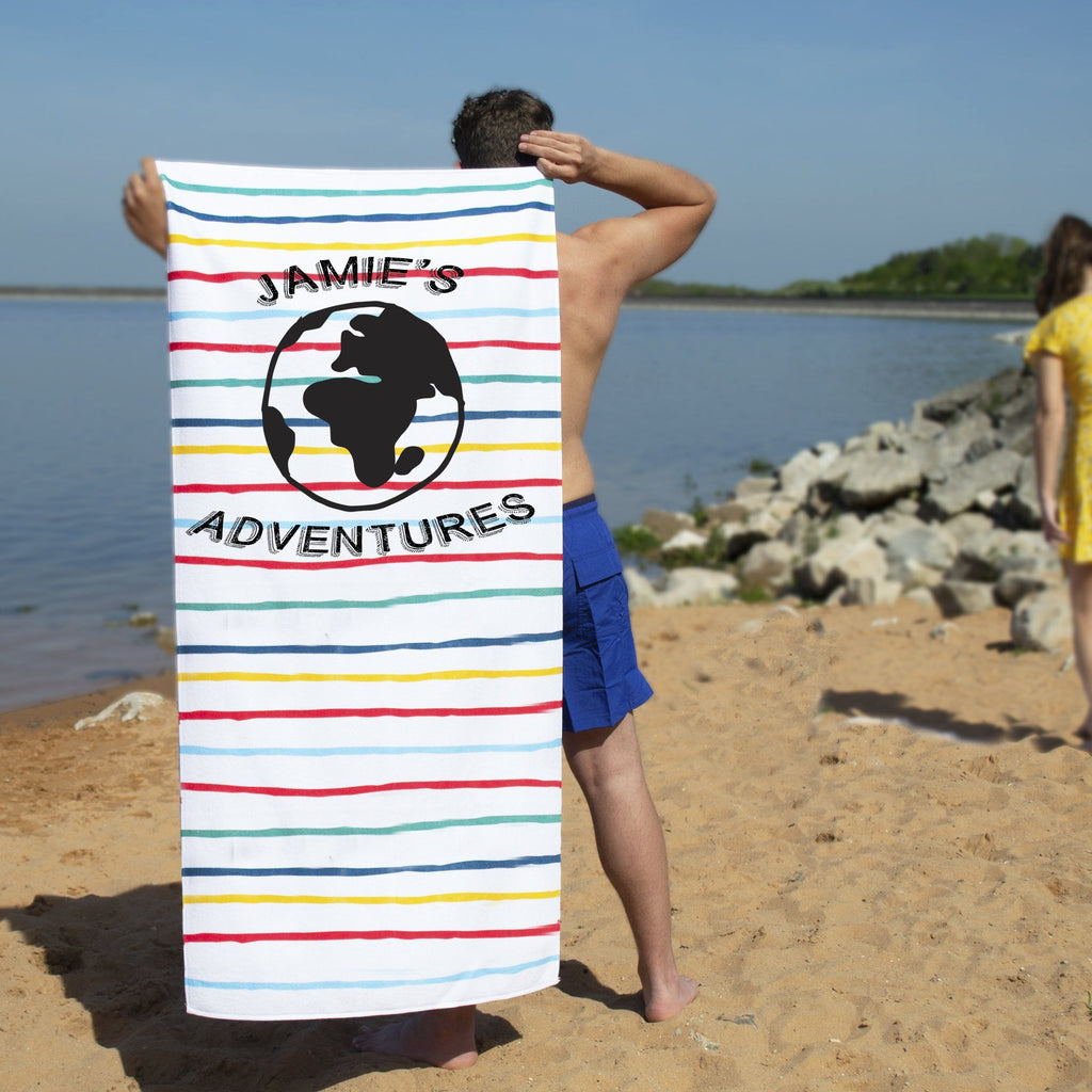 Personalised Travel Adventure Beach Towel, Beach Towel, - ALPHS