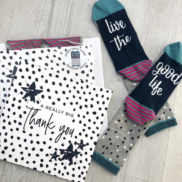 Women's 'Thank you' greetings card and socks, Card Socks, - ALPHS