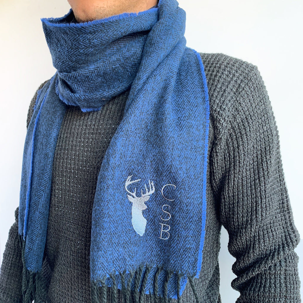 Personalised Men's Blue Stag Scarf, scarf, - ALPHS