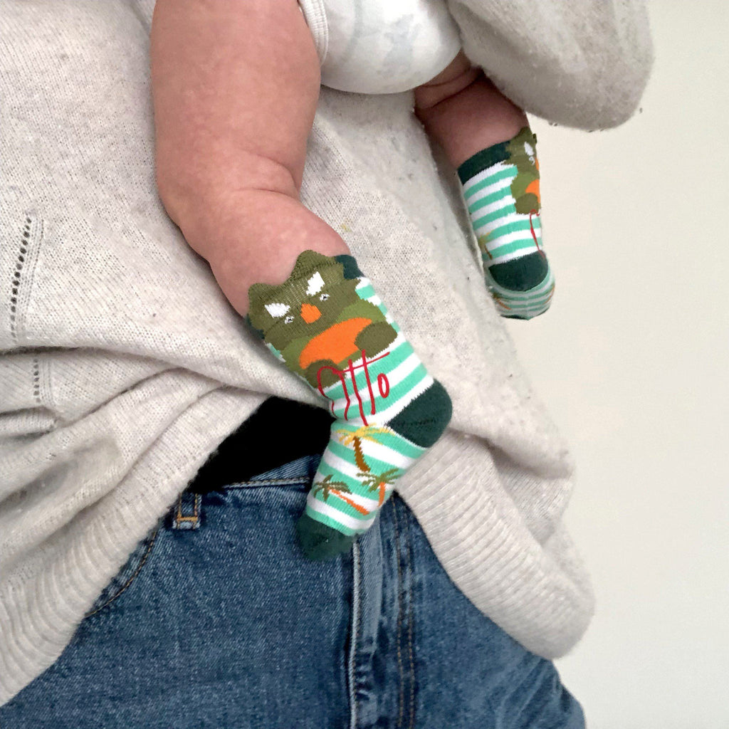 Personalised Baby Dinosaur Socks, socks, - ALPHS