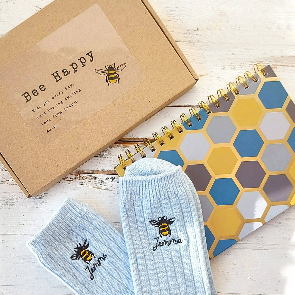 Bee Sock and Notebook Letterbox Gift