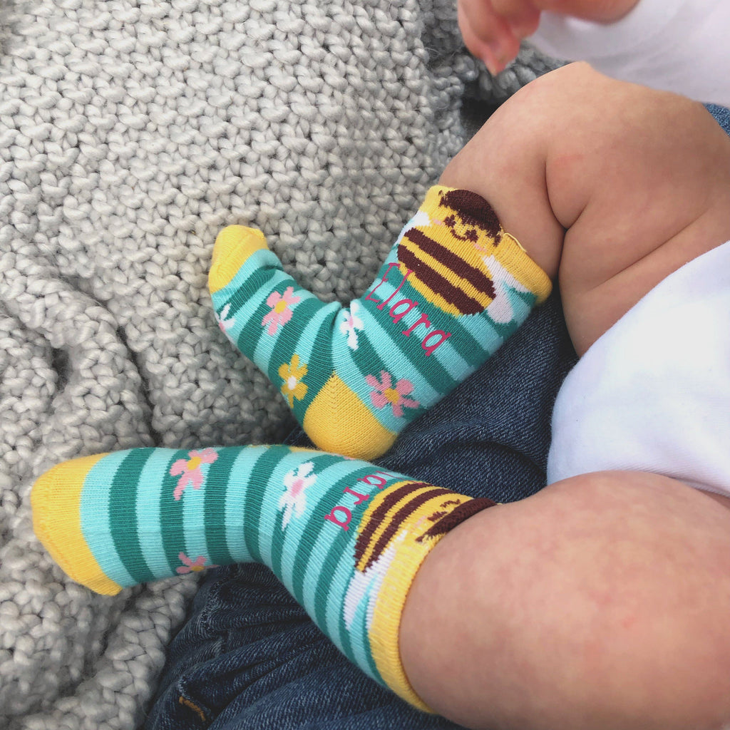 Personalised Bumble Bee Baby Girl Socks, socks, - ALPHS