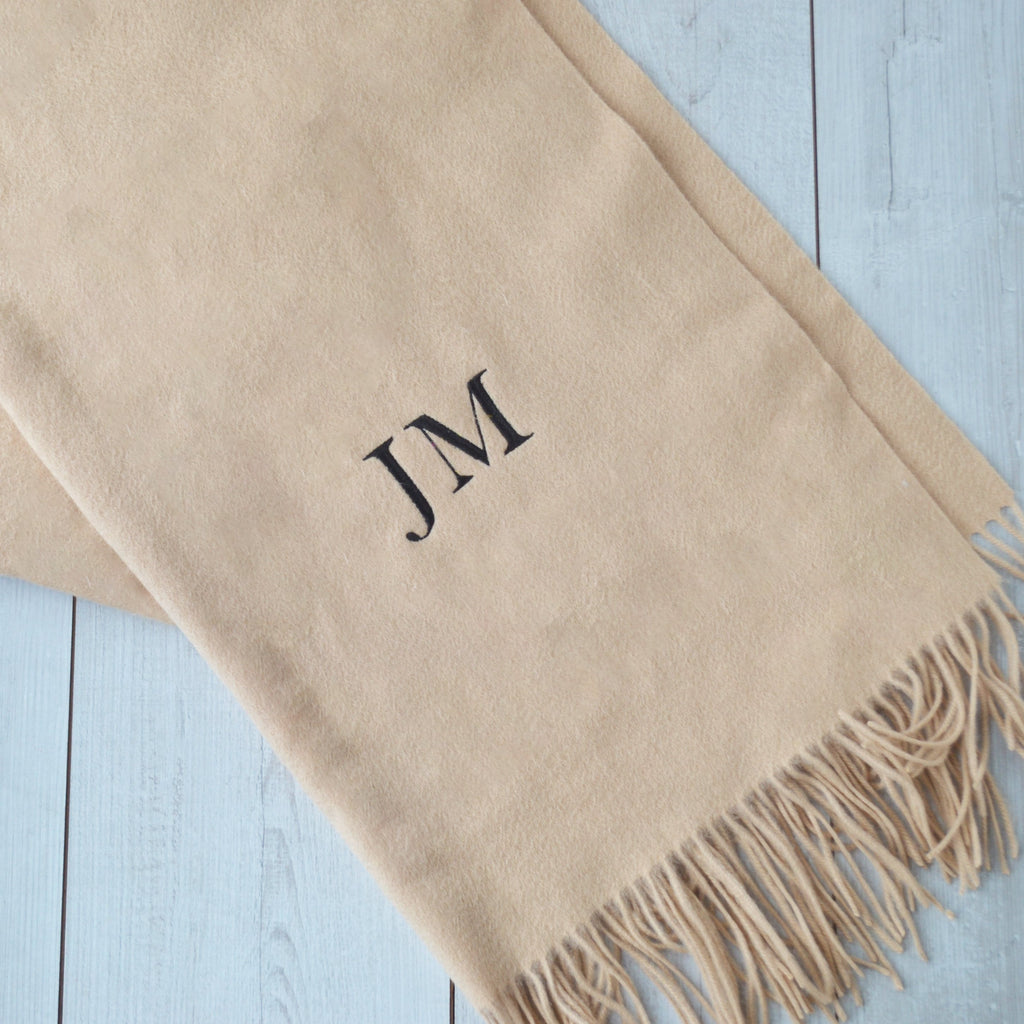Embroidered Lambswool Blanket Scarf