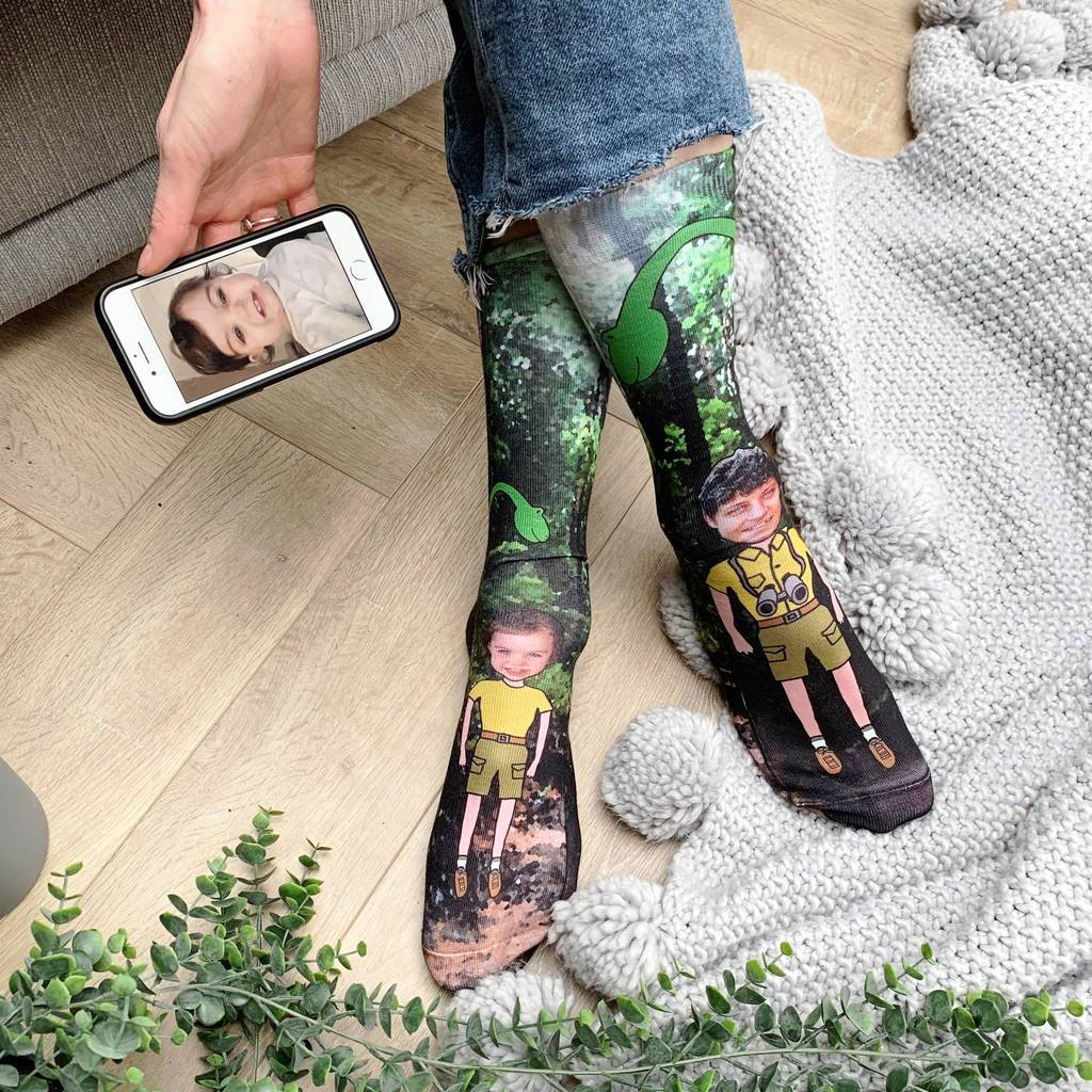 Daddy And Me Dinosaur Photo Socks, Photo Socks, - ALPHS