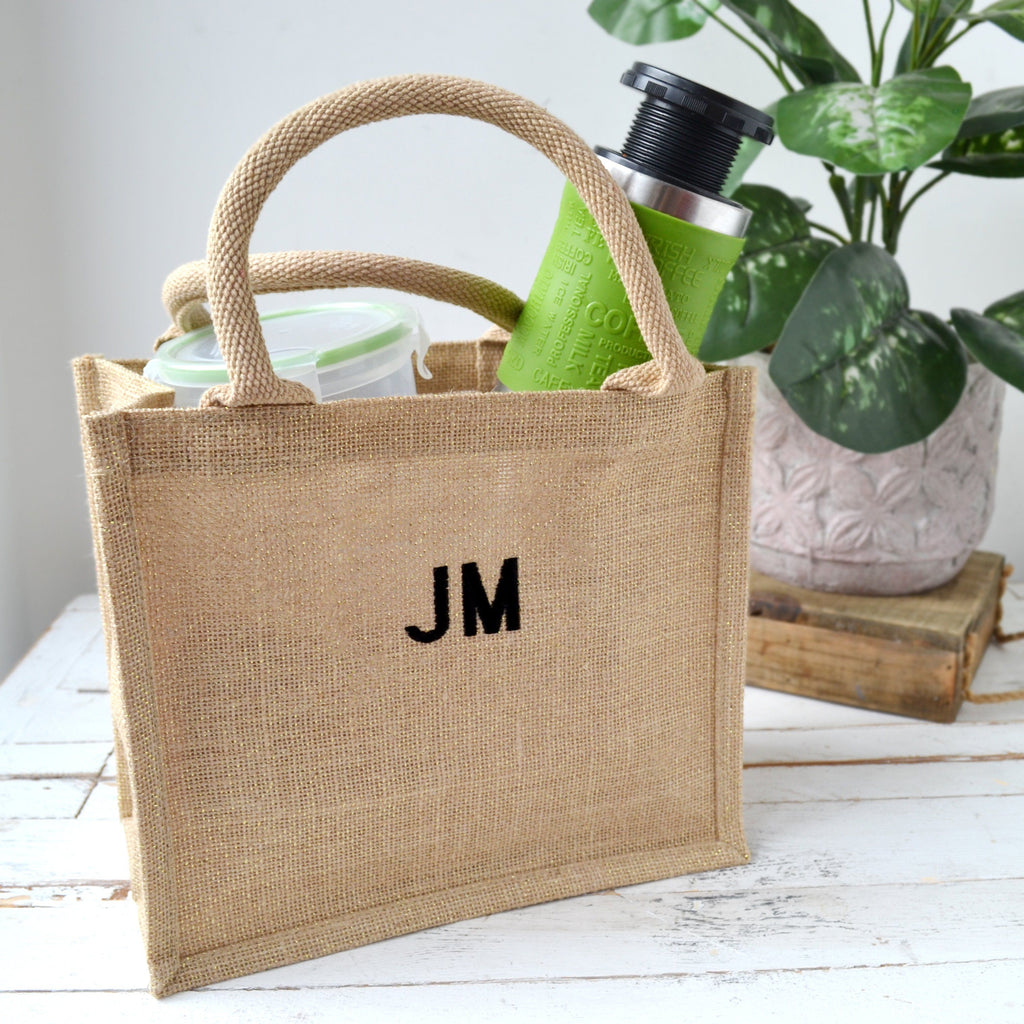 Embroidered Glitter Hessian Lunch Bag