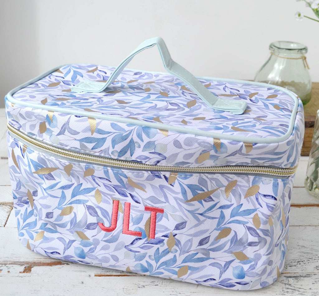 Embroidered Leaves Vanity Case
