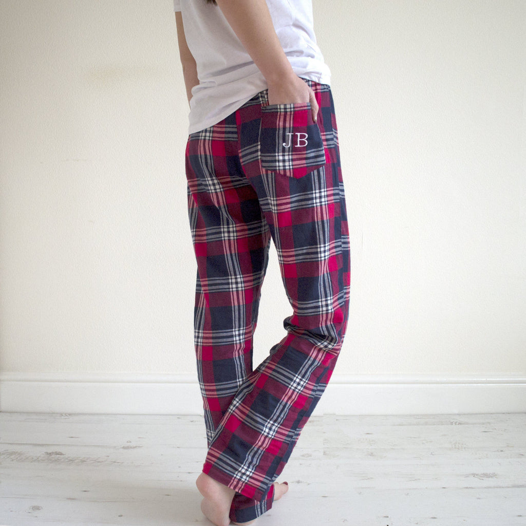 Embroidered Personalised Tartan Pyjama Bottoms, Pyjamas, - ALPHS
