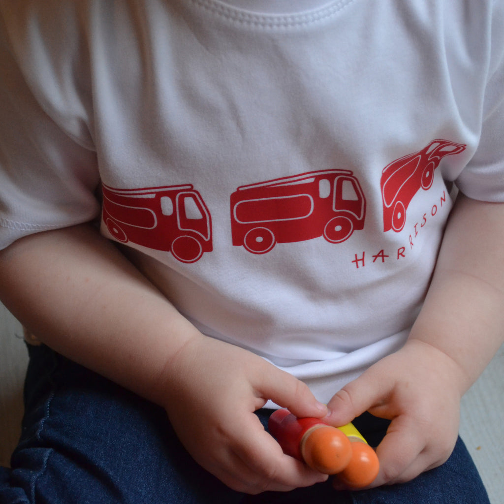 Personalised Kid's Fire Engine T-shirt