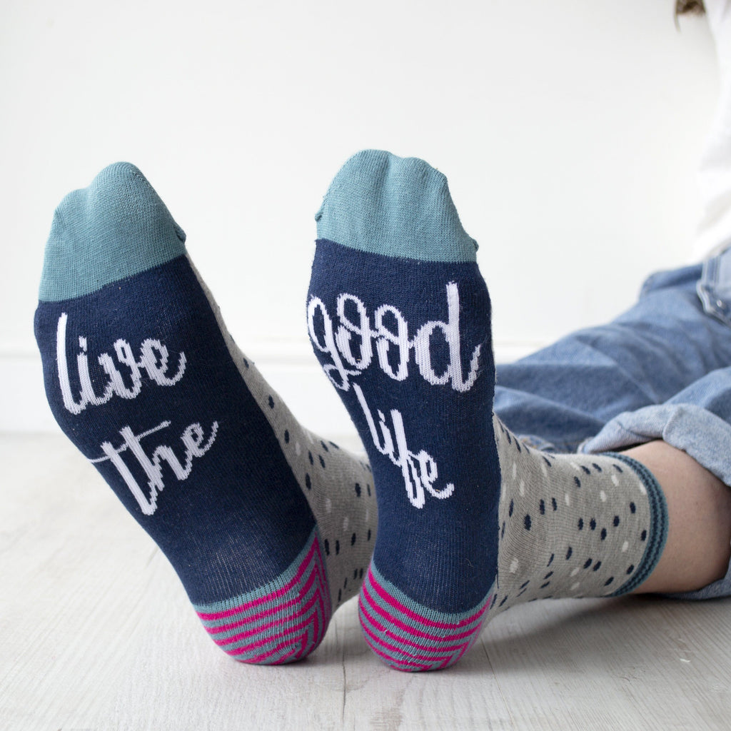 Live The Good Life Women's Slogan Gift Socks, Socks, - ALPHS