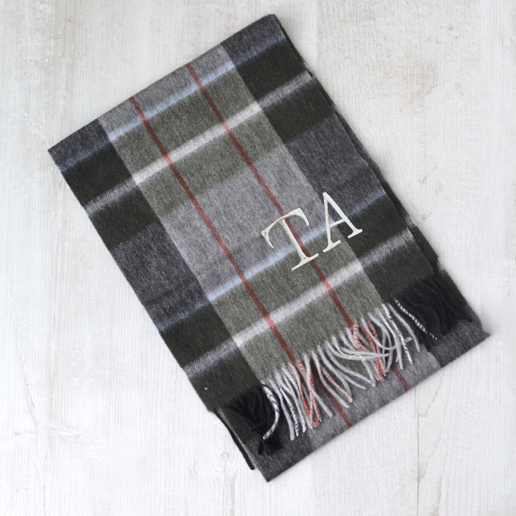 Men's Tartan Monogram Lambswool Scarf