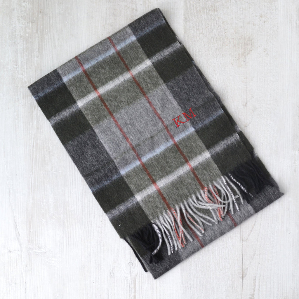 Personalised Embroidered Men's Tartan Scarf
