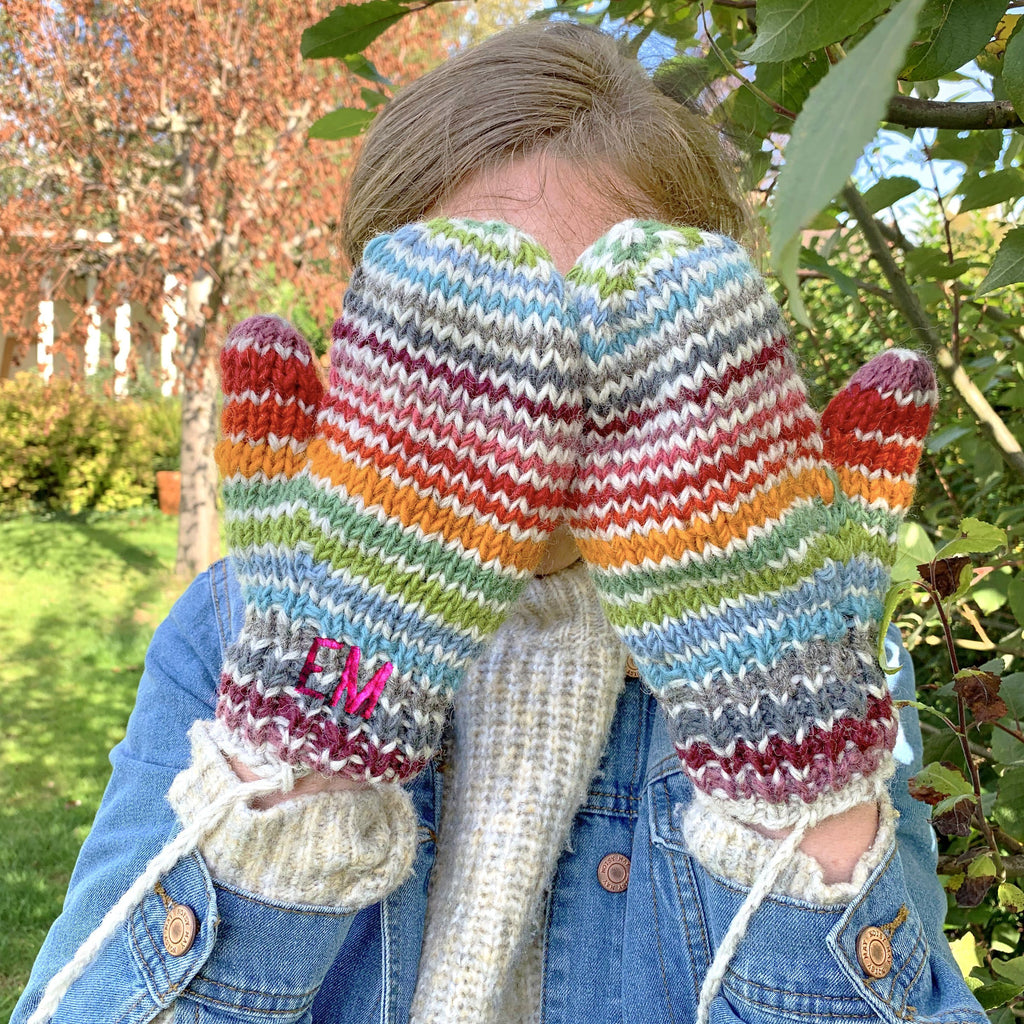 Hand Knitted Personalised Rainbow Mittens, , - ALPHS