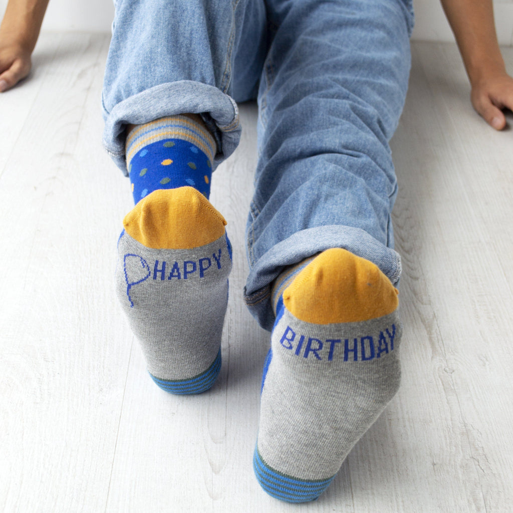 Men's Happy Birthday Patterned Slogan Socks, Socks, - ALPHS