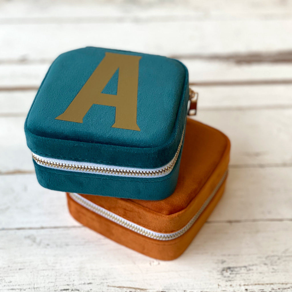 Square Initial Travel Jewellery Box