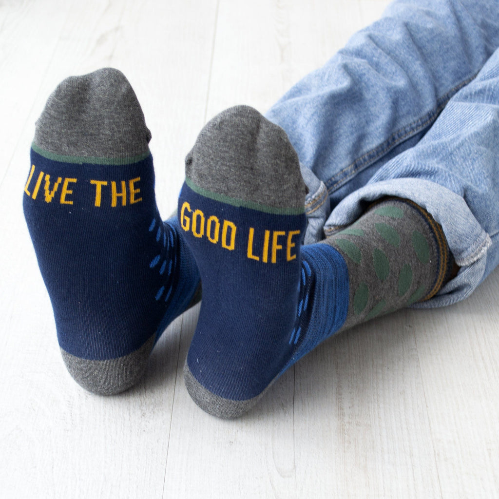 Live The Good Life Men's Slogan Gift Socks, Socks, - ALPHS