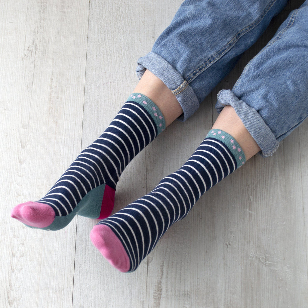 Lucky Socks, Striped Slogan Socks, Socks, - ALPHS