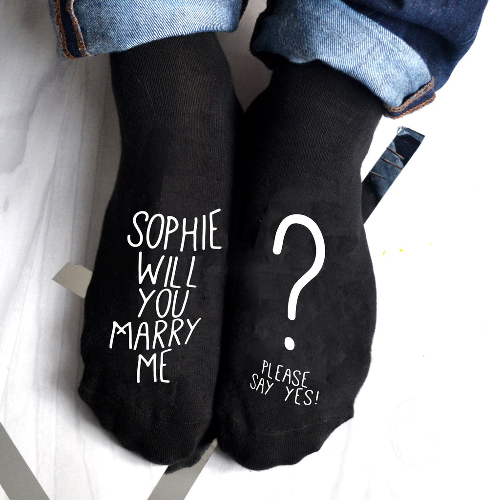 Will you Marry Me? Personalised proposal socks