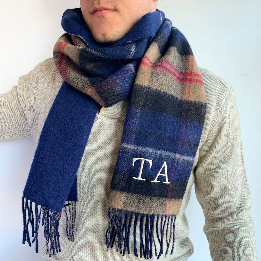 Men's Tartan Monogram Lambswool Scarf, scarf, - ALPHS