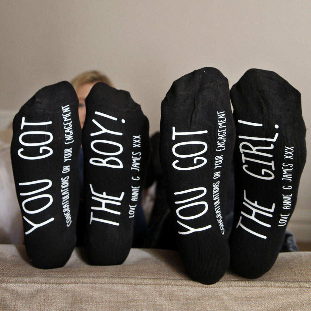 Personalised His And Hers Engagement Socks, socks, - ALPHS