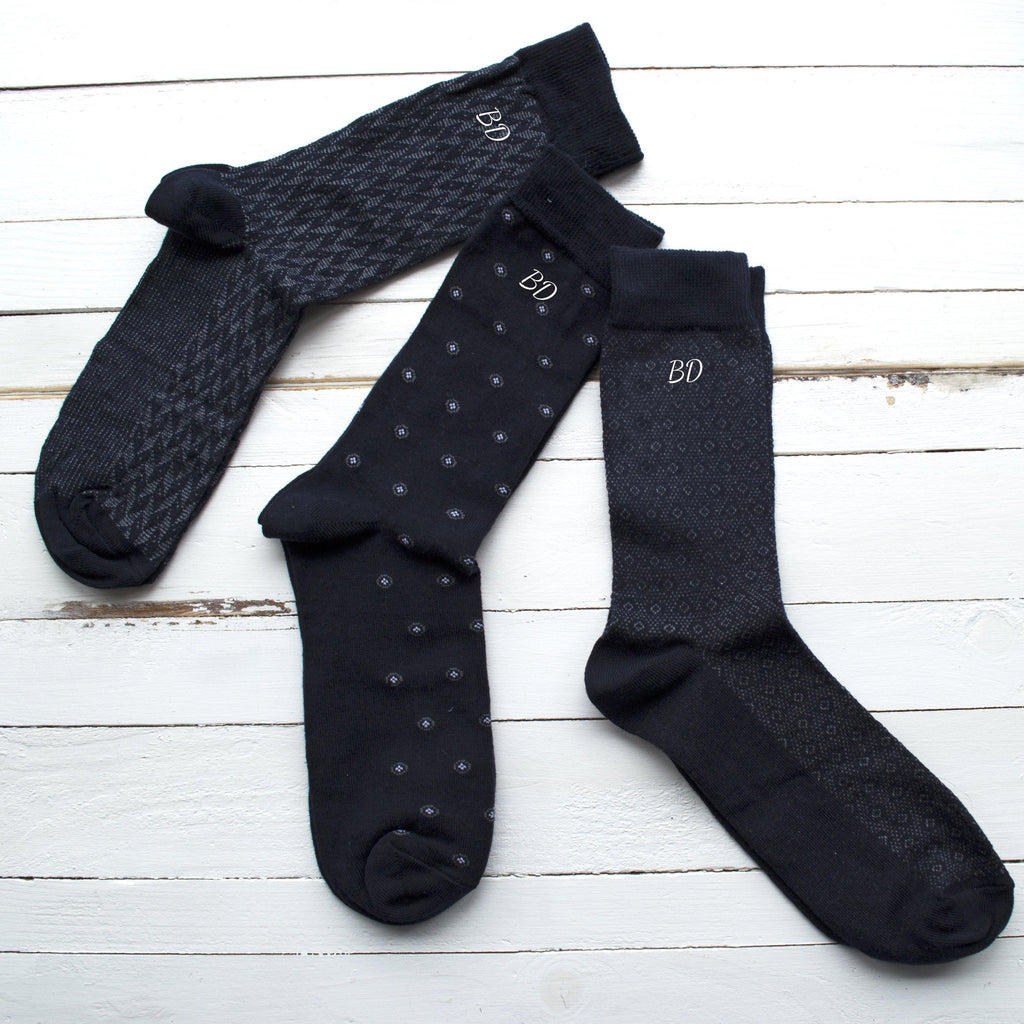 Set of Three Men's Monogrammed Socks