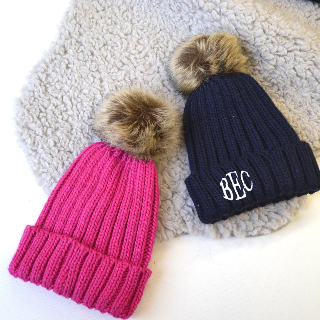 Monogram Pom Pom Hat, Hats, - ALPHS