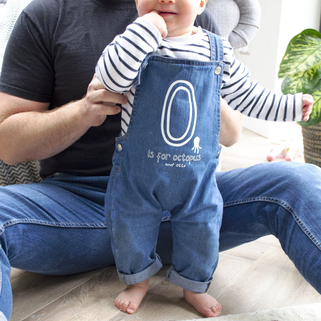 Personalised Organic Baby Dungarees