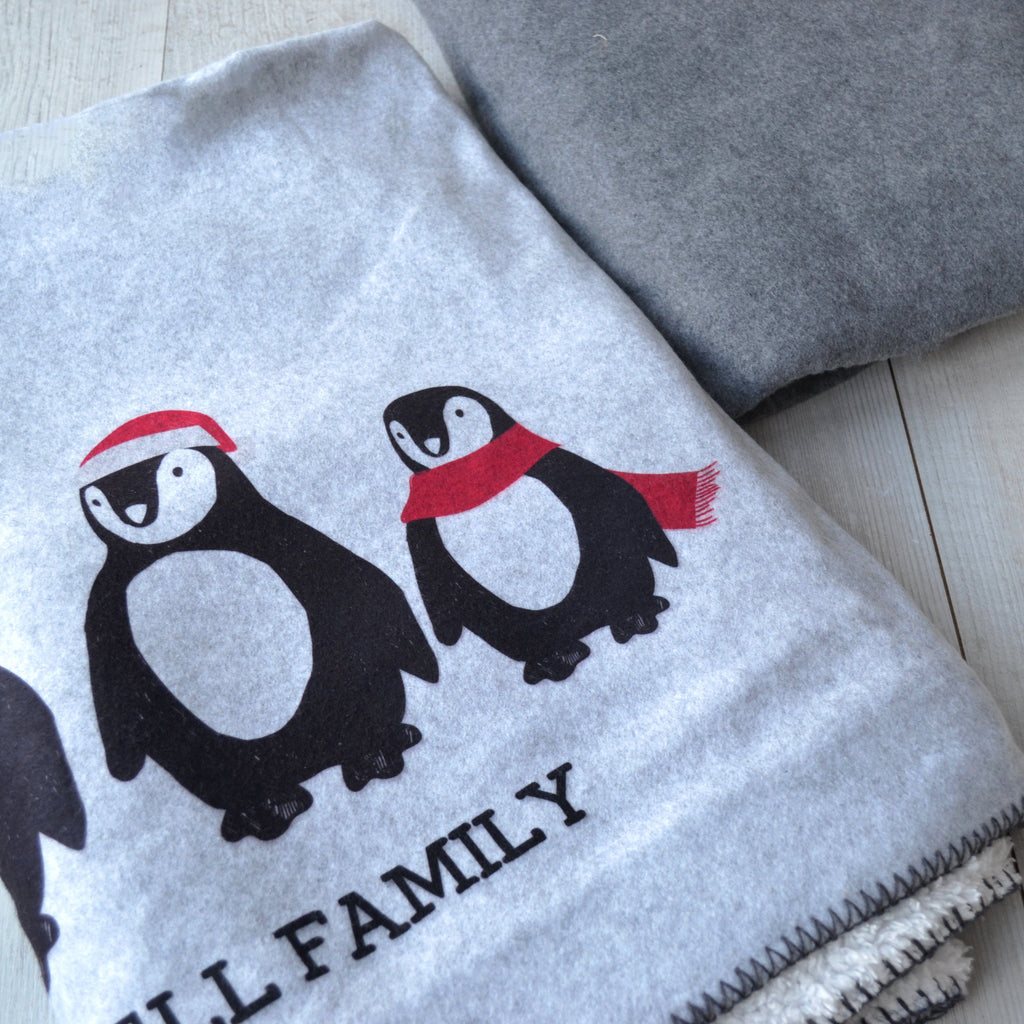 Personalised Penguin Family Blanket