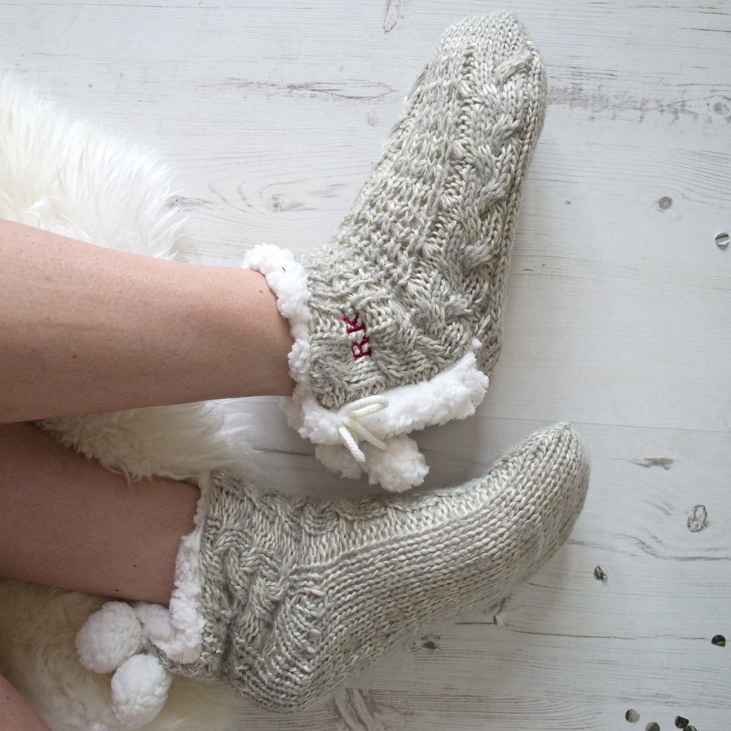 Personalised Cable Knit Pom Pom Slippers, slippers, - ALPHS