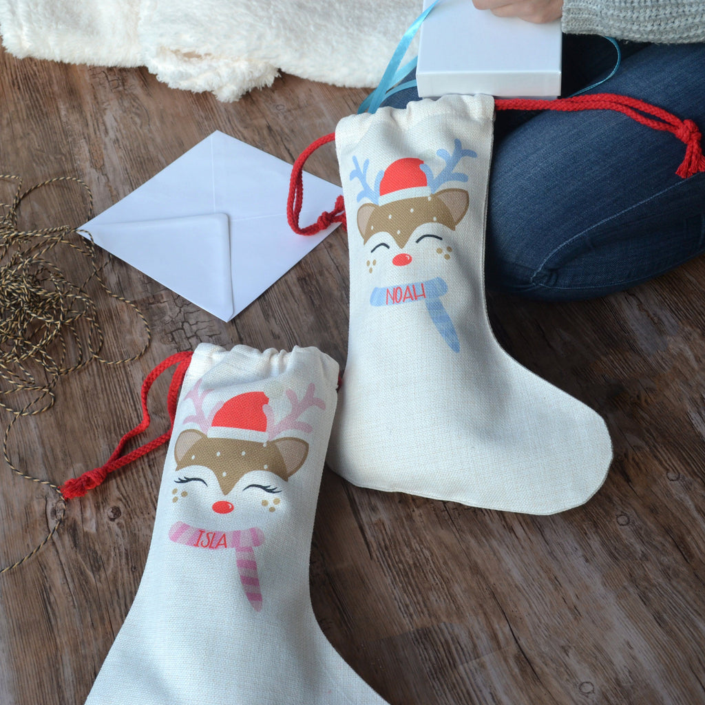 Personalised Cute Reindeer Stocking