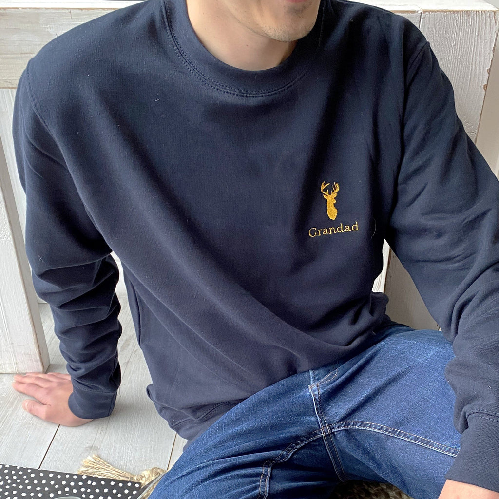 OUTLET Embroidered Grandad Stag Sweatshirt