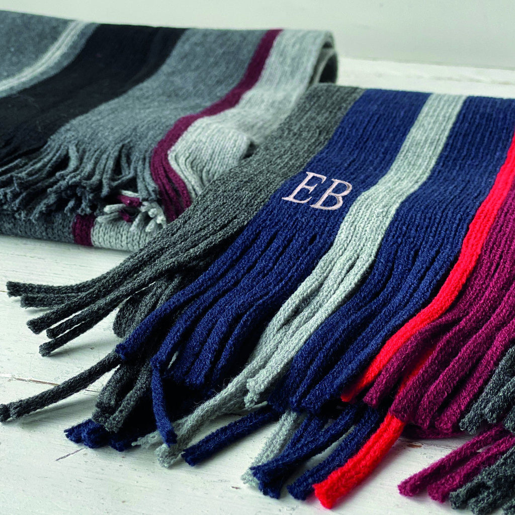 Men's Stripe Monogram Scarf