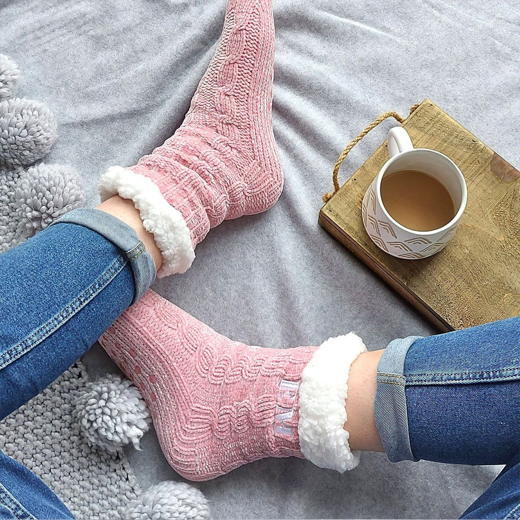 Embroidered Soft Touch Slipper Socks