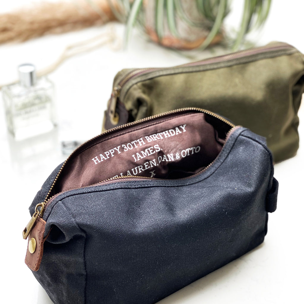 Personalised Mens Hidden Message Wash Bag