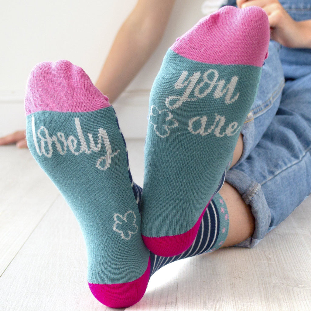 You Are Lovely Patterned Slogan Socks, Socks, - ALPHS