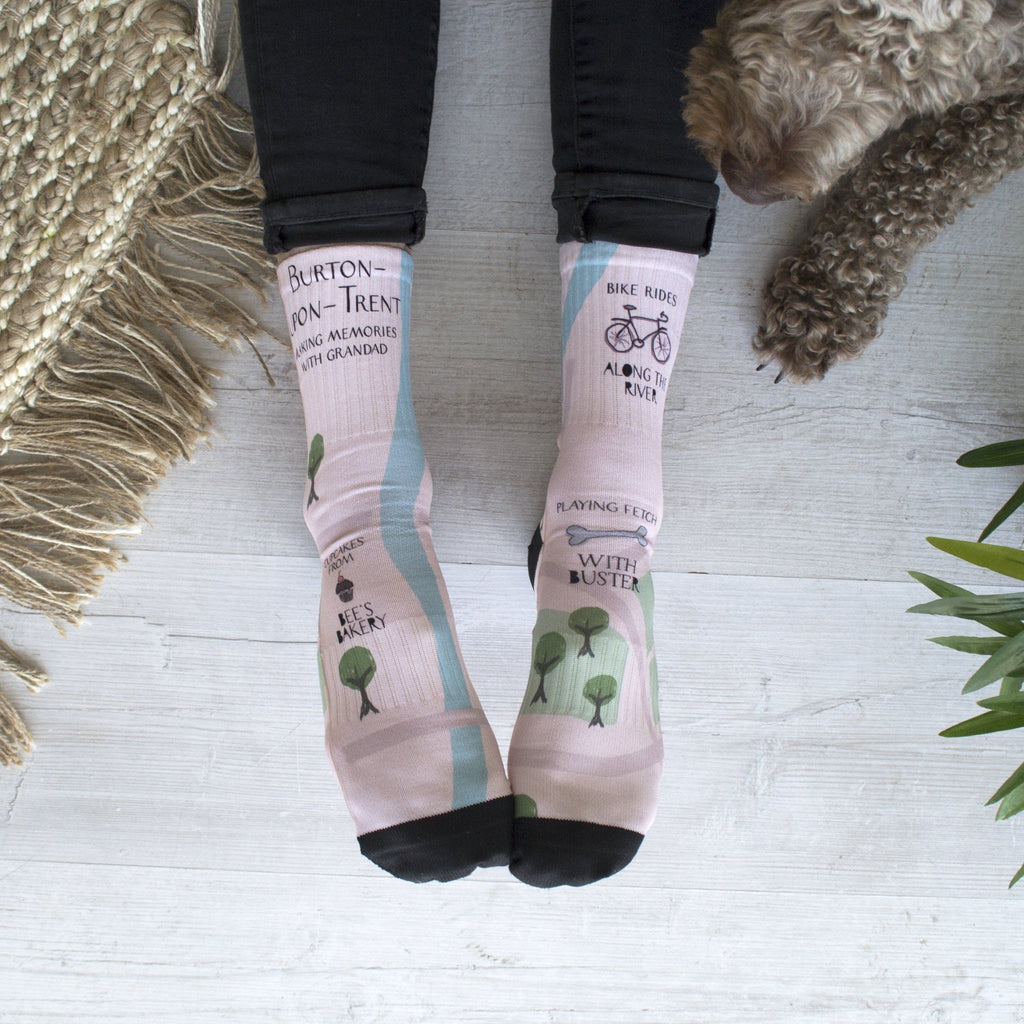 Personalised Adventure Home Town Map Socks, Personalised Socks, - ALPHS