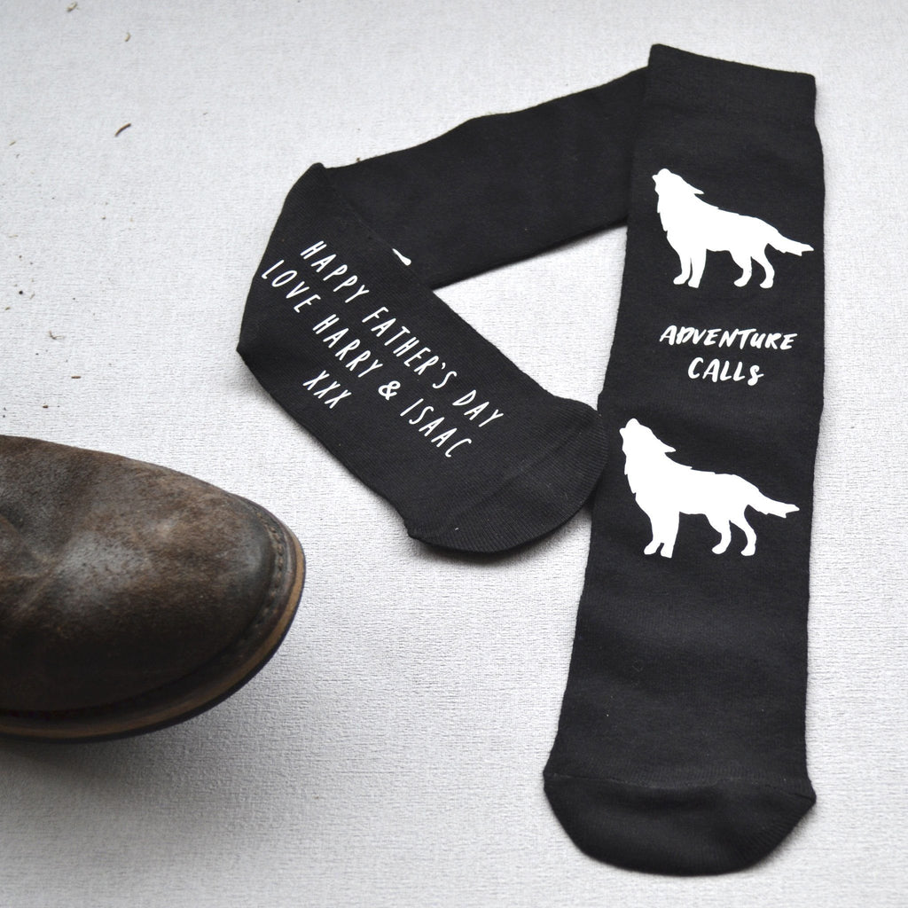 Personalised Gift Socks - Adventure Calls Wolves, , - ALPHS