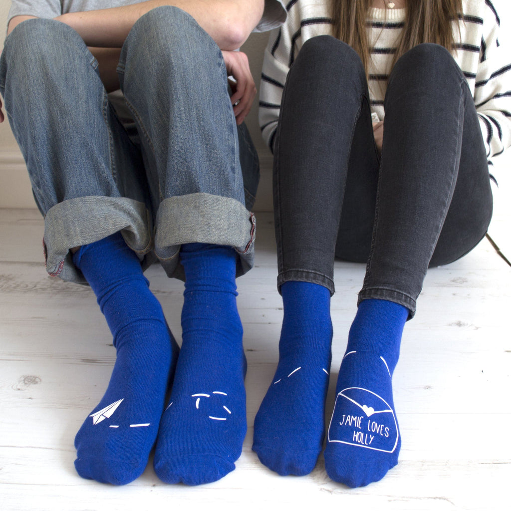 Personalised His And Hers Paper Aeroplane Socks, Socks, - ALPHS