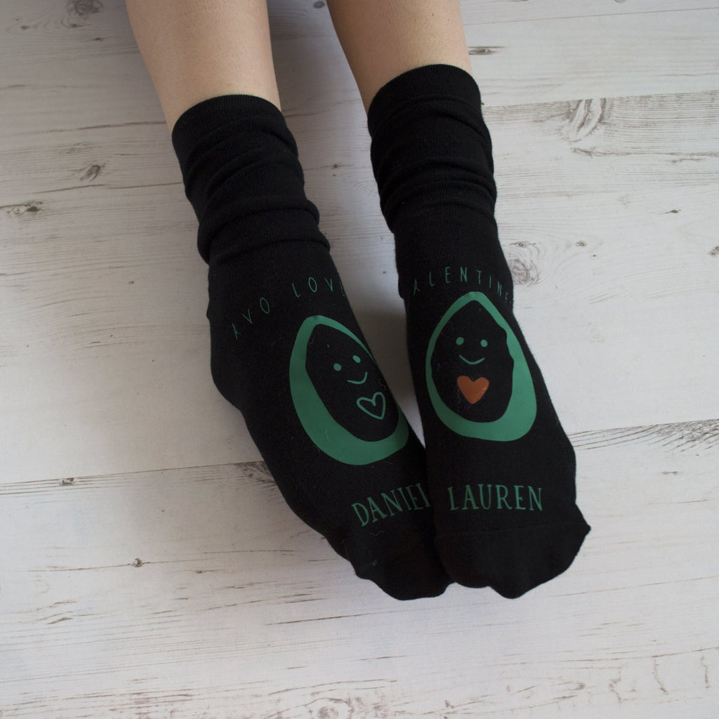 Personalised Avocado In Love Socks, Socks, - ALPHS